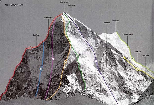 """Северное ребро Shivling (6543m). Маршрут """"Shivas line"""" под номером 4"""