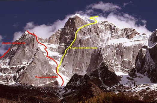 Северная Стена Сигуньянь (Siguniang), 6250 m, Китай, маршрут Фаулера и Рамсдена желтого цвета