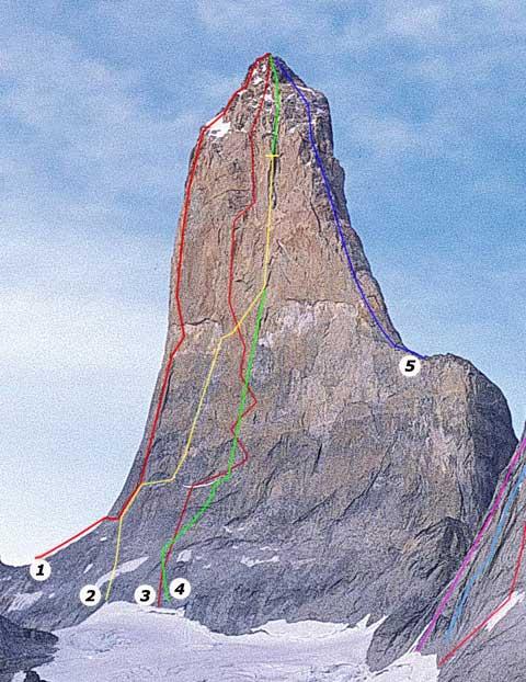 Torre South del Paine (2500 м) маршрут «Dans l'Oeil du Cyclone» под номером 4
