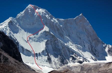 Северная стена Каланка (Kalanka 6931 м), Восточный Гарвал, Гималаи, Индия. Маршрут: Bushido.