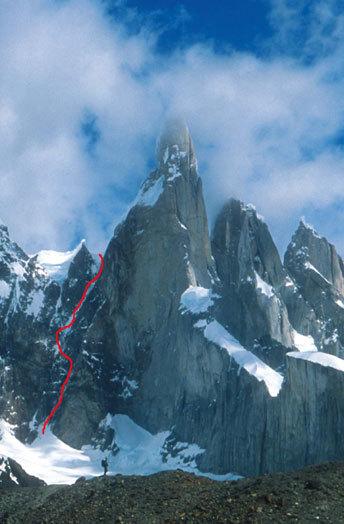"маршрут Francois Marsigny и Andy Parkin ""A La Recherche du Temps Perdu"", Esperance Col, Cerro Torre"