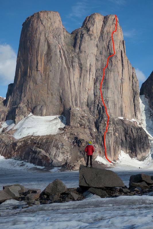 """Маршрут """"Sensory Overload"""" (1200м, 5.11+, A1) по северо-западной стене Южной башни пика Mount Asgard"""