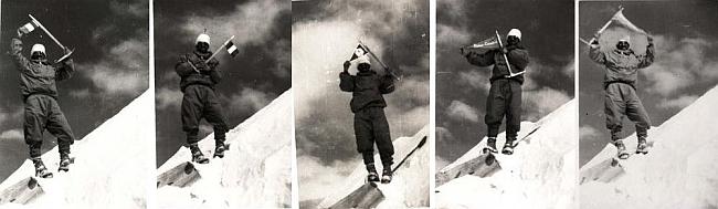 Морис Эрцог (Maurice Herzog) позирует для исторического фото на Аннапурне