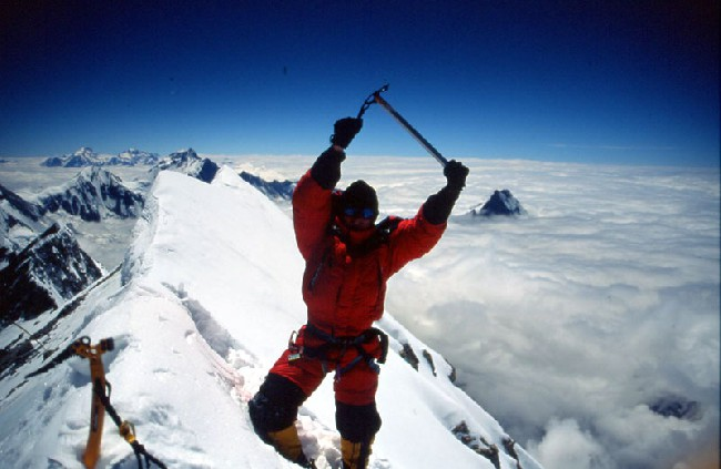 Jean-Christophe Lafaille на вершине Аннапурны
