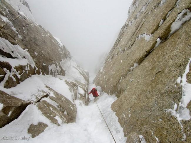 """Последние несколько метров на  маршруте """"Tobogan"""" (Cerro Standhardt Патагония)"""
