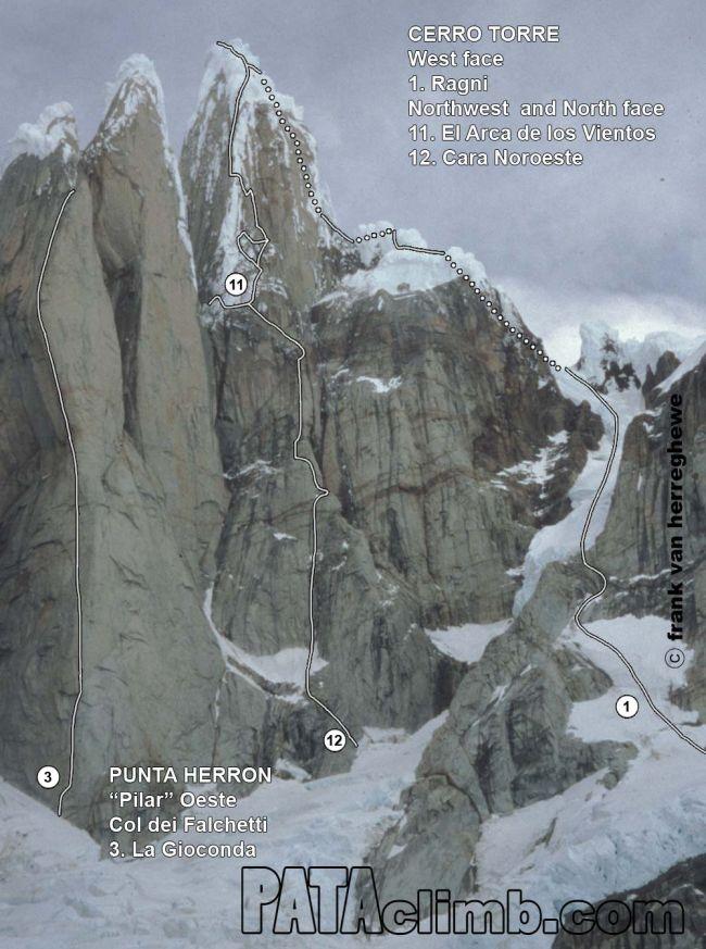 маршрут Ragni (Ragni route) по Западному склону на вершину Cerro Torre (Патагония)